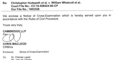 Notice of Cross-Examination