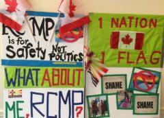 Rally Against RCMP Raising the Political, Exclusionary Rainbow Flag,